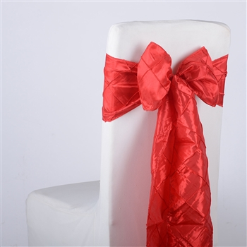 Red Pintuck Satin Chair Bow ( 5 Pieces )