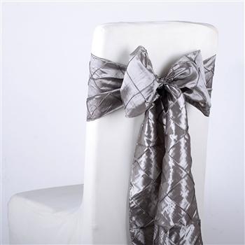Silver Pintuck Satin Chair Bow ( 5 Pieces )