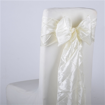 Ivory Pintuck Satin Chair Bow ( 5 Pieces )