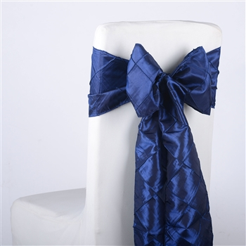 Navy Blue Pintuck Satin Chair Bow ( 5 Pieces )