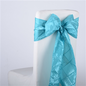 Turquoise Pintuck Satin Chair Bow ( 5 Pieces )