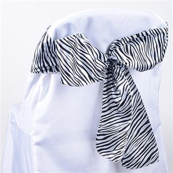 White Animal Satin Chair Sash
