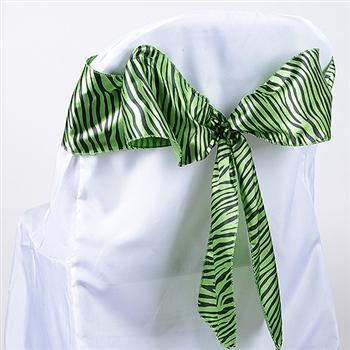 Apple Green Animal Satin Chair Sash