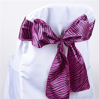 Fuchsia  Animal Satin Chair Sash