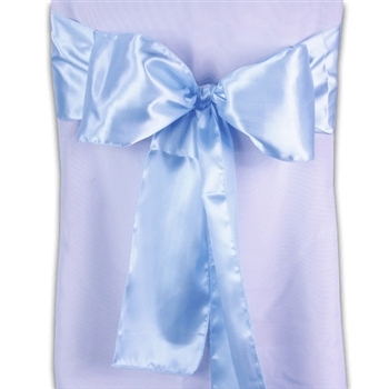 Light Blue Satin Chair Sash