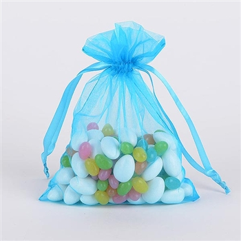 Turquoise Organza Favor Bags