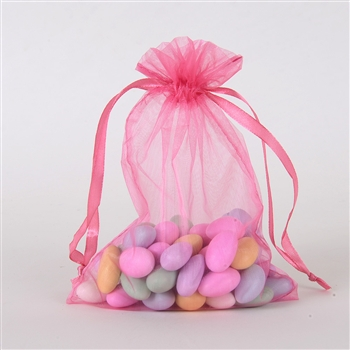 Shocking Pink Organza Favor Bags