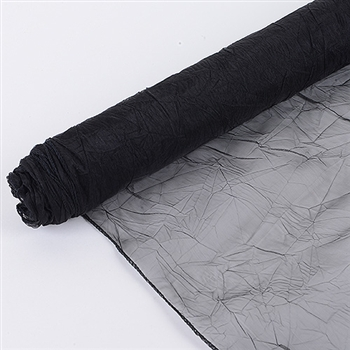 Black Premium Crinkle Organza Overlays 24x10 Yards