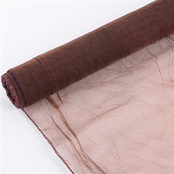 Chocolate Brown Premium Crinkle Organza Overlays 24x10 Yards