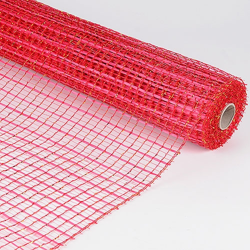 Metallic Oasis Deco Mesh 21 Inch x 10 Yards - Red
