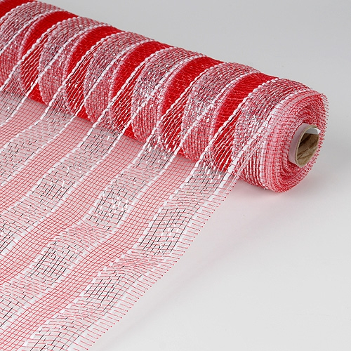 21 Inch Deco Mesh - Red with Silver