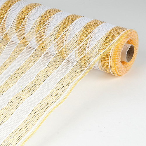 21 Inch Deco Mesh - White with Gold