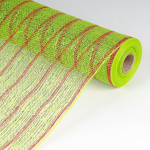 Apple Green with Red Lines Mesh Wrap