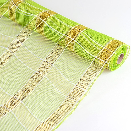 Apple Green with Gold Floral Mesh Wrap
