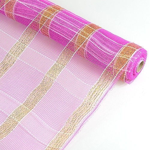 Fuchsia with Gold Floral Mesh Wrap