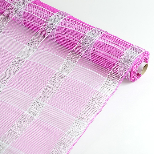Fuchsia with Silver Floral Mesh Wrap