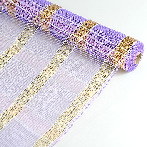 Lavender with Gold Floral Mesh Wrap