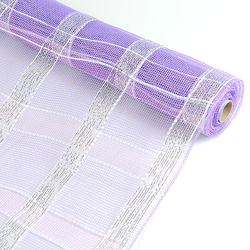 Lavender with Silver Floral Mesh Wrap