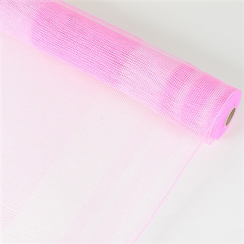 Pink with White Stripe Deco Mesh