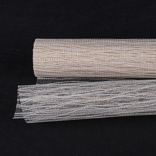 Ivory Floral Mesh Wraps Metallic Twine - 21 Inch x 6 Yards