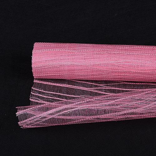 Pink Floral Mesh Wraps Metallic Twine - 21 Inch x 6 Yards