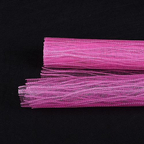 Shocking Pink Floral Mesh Wraps Metallic Twine - 21 Inch x 6 Yards