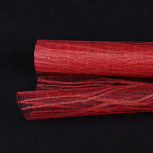 Red Floral Mesh Wraps Metallic Twine - 21 Inch x 6 Yards