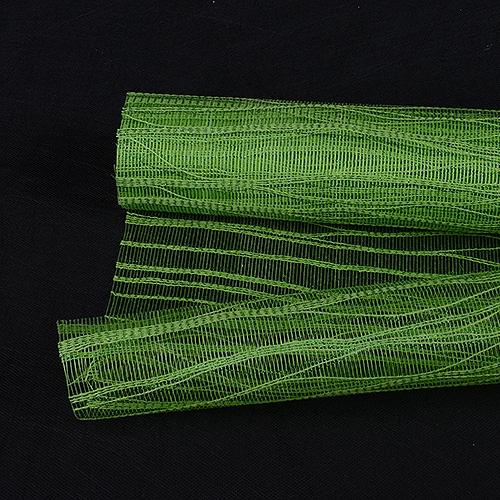 Apple Green Floral Mesh Wraps Metallic Twine - 21 Inch x 6 Yards