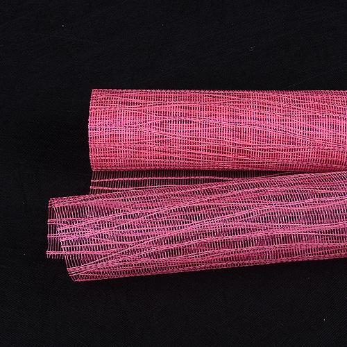 Hot Pink Floral Mesh Wraps Metallic Twine - 21 Inch x 6 Yards