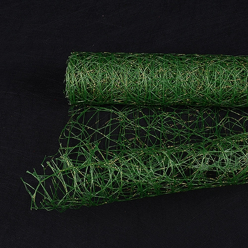 Spring Moss Floral Mesh Wraps Metallic Sisal - 21 Inch x 6 Yards