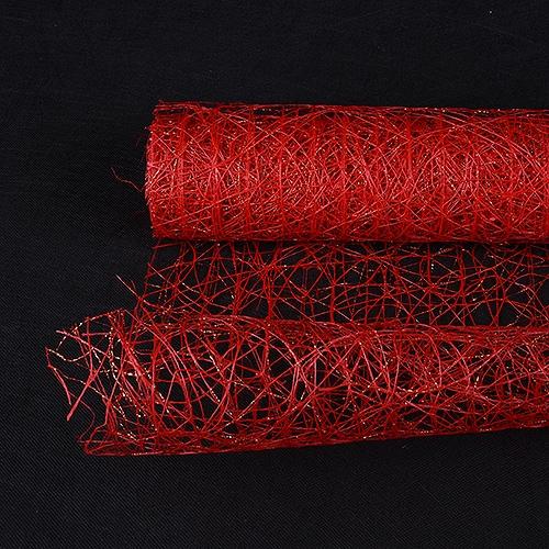 Red Floral Mesh Wraps Metallic Sisal - 21 Inch x 6 Yards