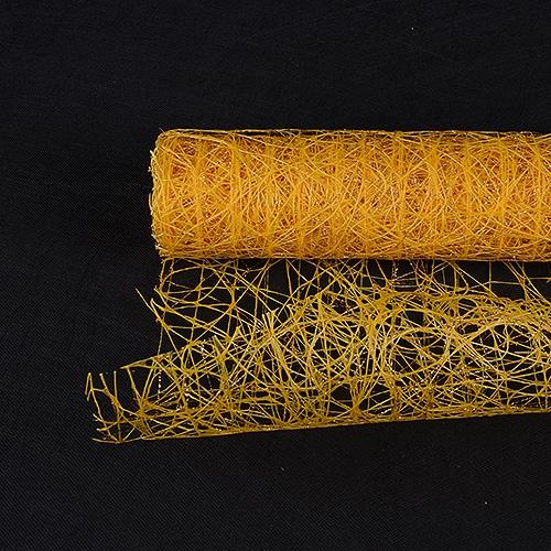 Light Gold Floral Mesh Wraps Metallic Sisal - 21 Inch x 6 Yards