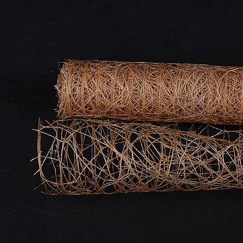 Tan Floral Mesh Wraps Metallic Sisal - 21 Inch x 6 Yards