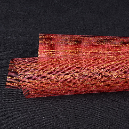 Red Gold Floral Mesh Wraps Metallic Thread - 21 Inch x 6 Yards