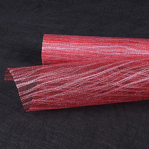 Red Silver Floral Mesh Wraps Metallic Thread - 21 Inch x 6 Yards