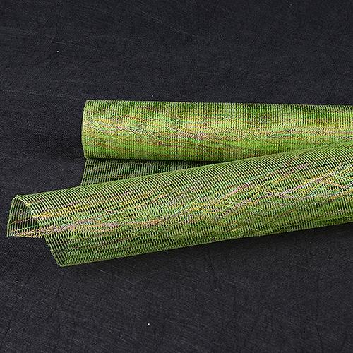 Apple Green Floral Mesh Wraps Metallic Thread - 21 Inch x 6 Yards