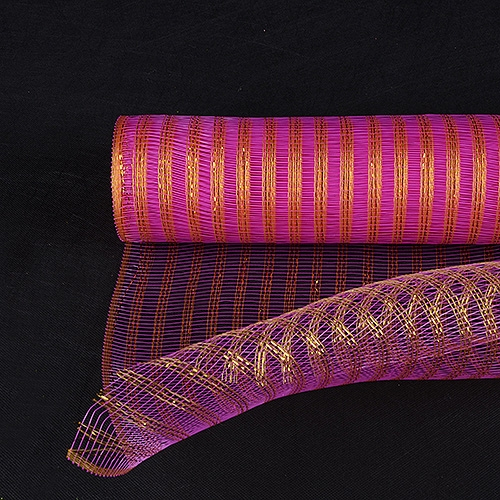 Fuchsia with Gold Floral Mesh Wraps Metallic Line - 21 Inch x 6 Yards