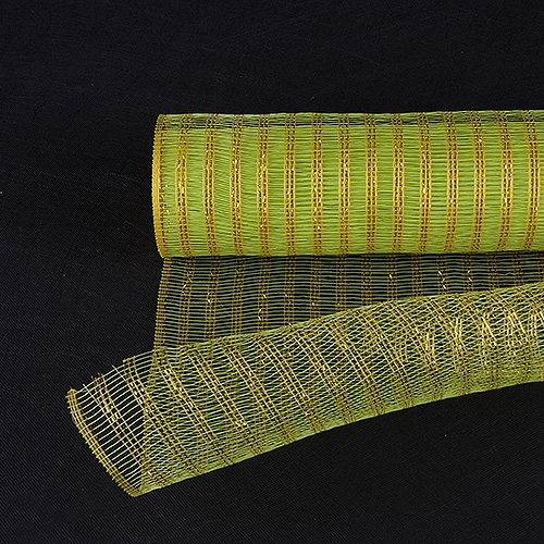 Apple Green with Gold Floral Mesh Wraps Metallic Line - 21 Inch x 6 Yards