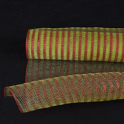 Lime Green with Red Floral Mesh Wraps Metallic Line - 21 Inch x 6 Yards