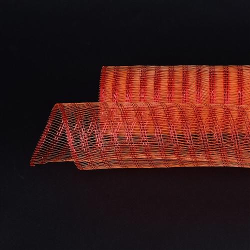 Orange Floral Mesh Wraps Metallic Line - 21 Inch x 6 Yards