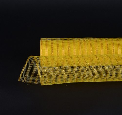 Yellow Floral Mesh Wraps Metallic Line - 21 Inch x 6 Yards